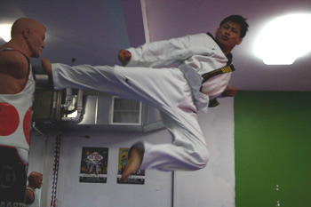 flying side kick in martial arts classes in burnaby