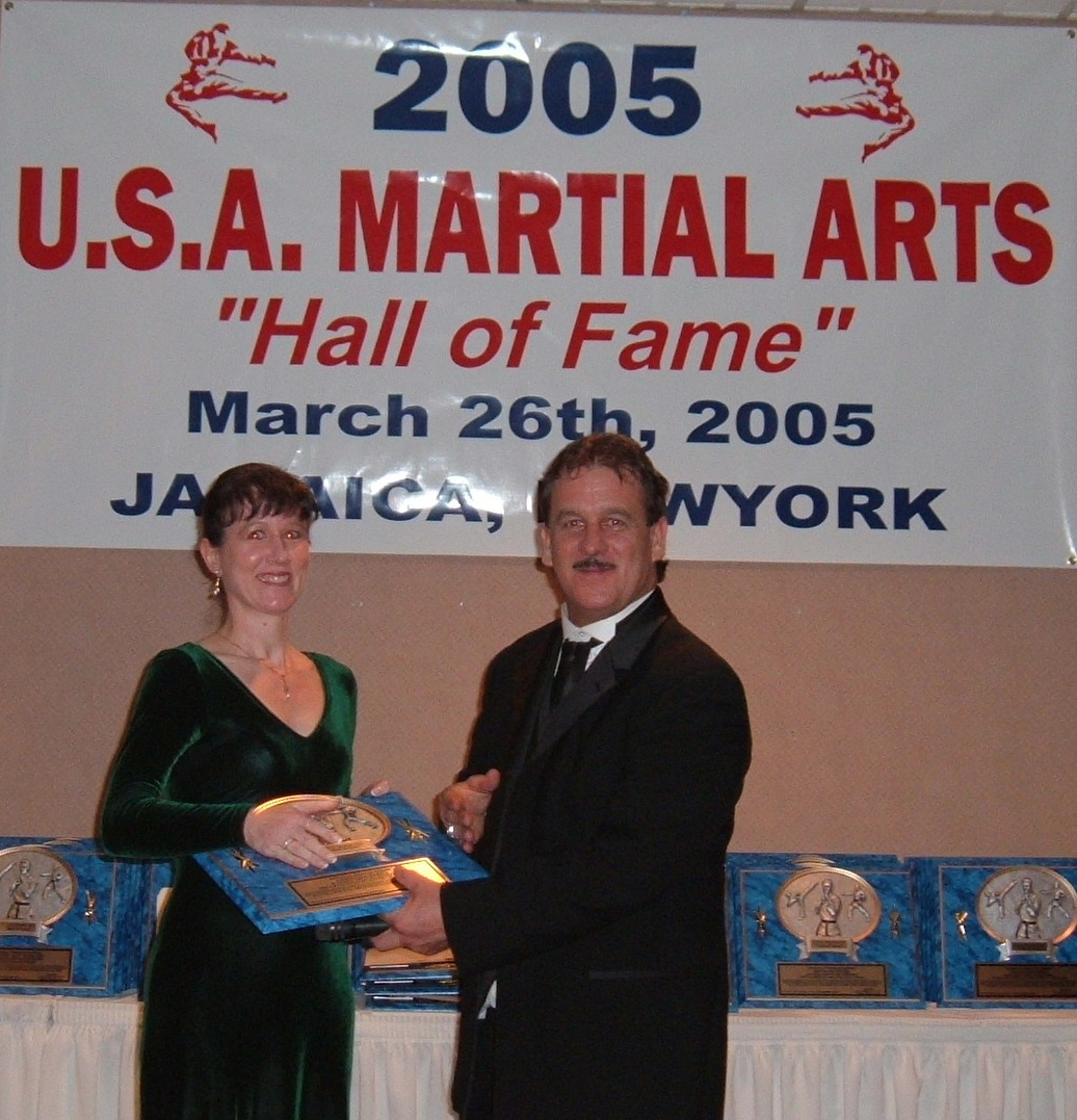 Master Hardy on her induction into the Hall of Fame, New Hampshire Martial Arts Academy, Exeter, NH